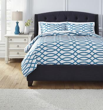 Signature Design by Ashley Bedding Sets Queen Leander Turquoise Duvet Set - Item Number: Q720003Q