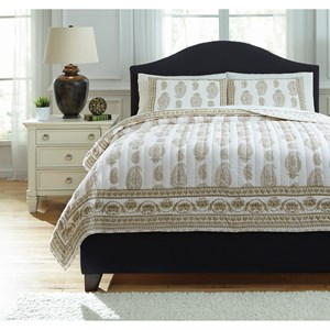 Signature Design by Ashley Bedding Sets Queen Almeda Beige Coverlet Set