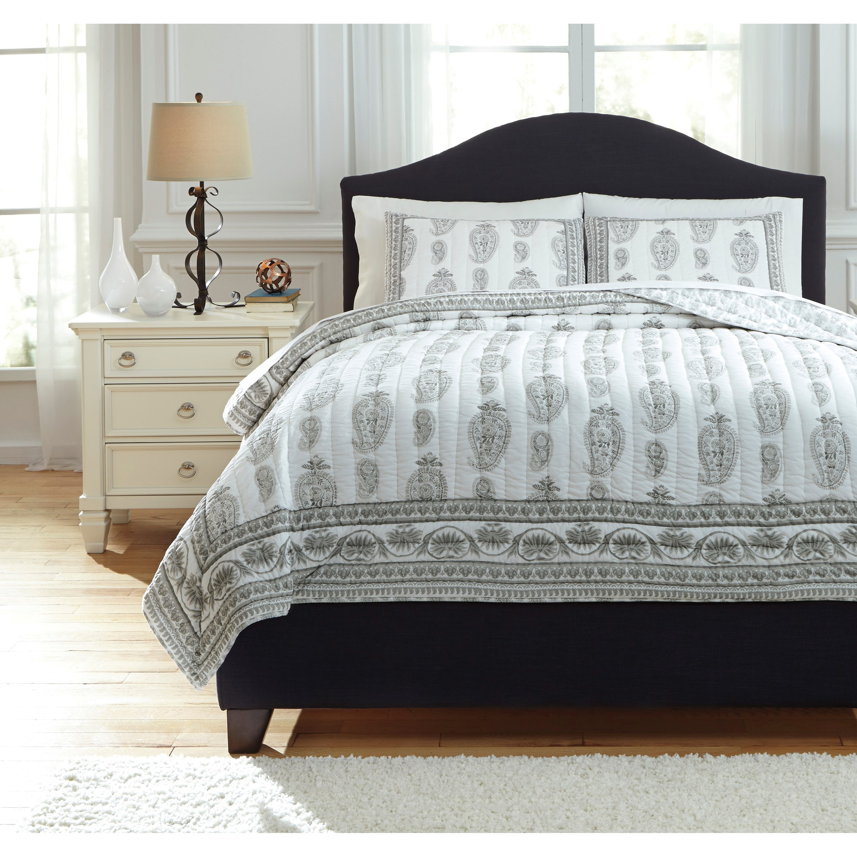 Signature Design by Ashley Bedding Sets Queen Almeda Gray Coverlet Set - Item Number: Q726023Q