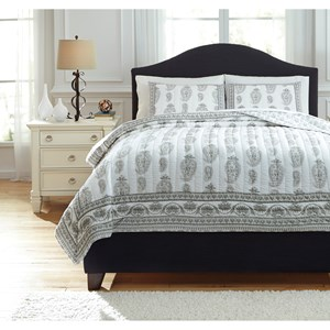 Signature Design by Ashley Bedding Sets Queen Almeda Gray Coverlet Set