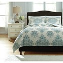 Signature Design by Ashley Bedding Sets Queen Fairholm Turquoise Duvet Cover Set - Item Number: Q728023Q