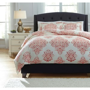 Signature Design by Ashley Bedding Sets Queen Fairholm Coral Duvet Cover Set