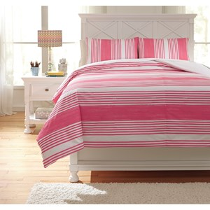 Signature Design by Ashley Bedding Sets Full Taries Pink Duvet Cover Set