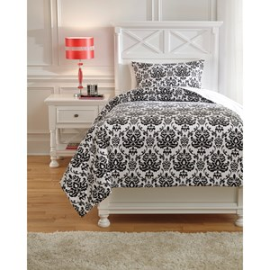 Signature Design by Ashley Bedding Sets Twin Alano Black Duvet Cover Set
