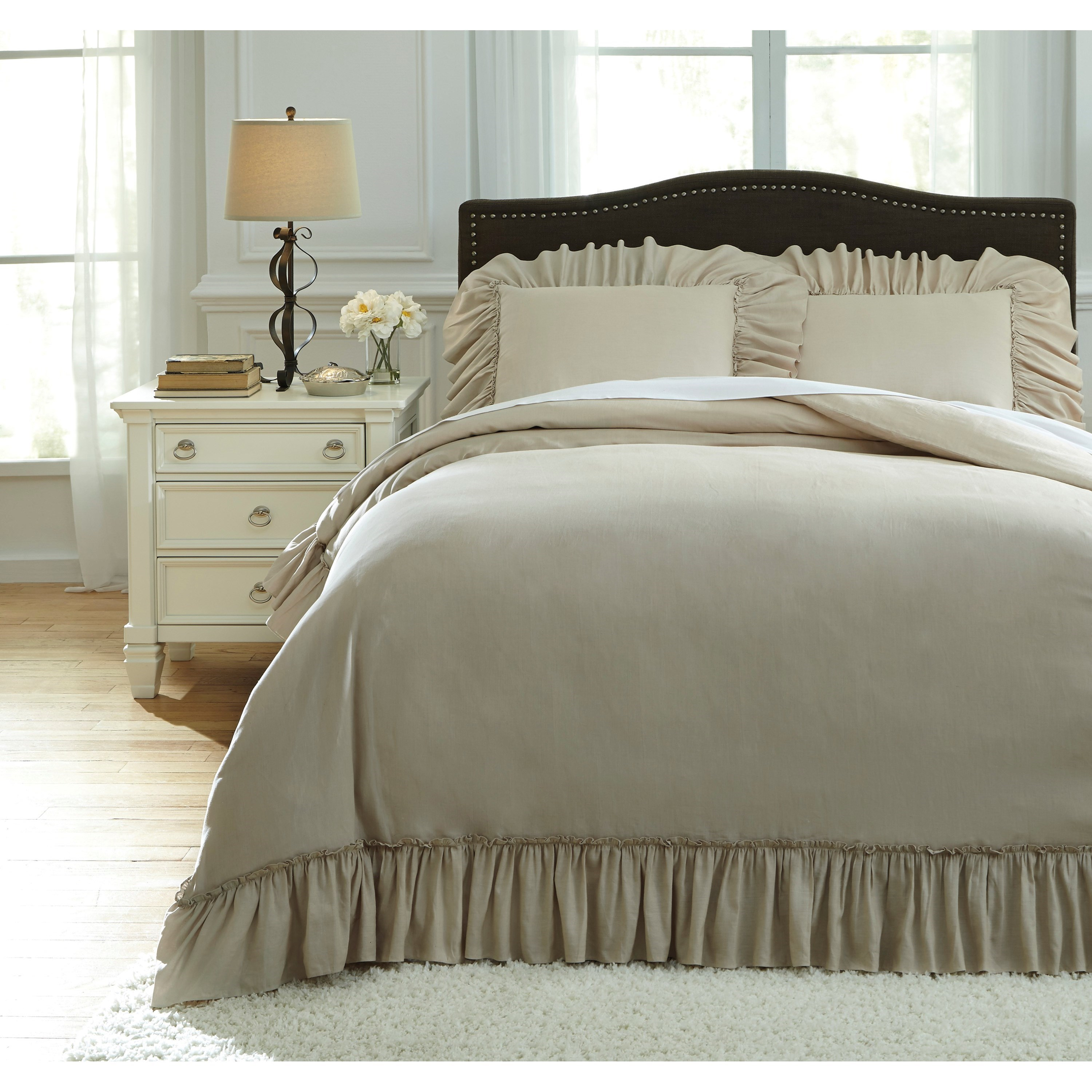 Signature Design by Ashley Bedding Sets Queen Clarksdale Natural Duvet Covet Set - Item Number: Q732003Q