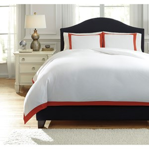 Signature Design by Ashley Bedding Sets King Ransik Pike Coral Duvet Cover Set
