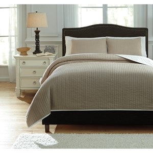 Signature Design by Ashley Bedding Sets Queen Orson Natural Coverlet Set