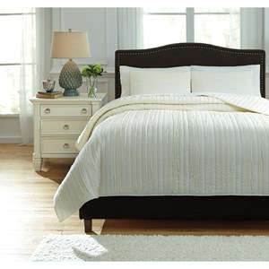 Signature Design by Ashley Bedding Sets Queen Solsta Ivory Coverlet Set