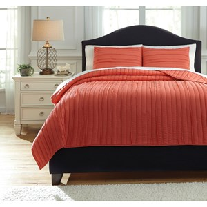 Signature Design by Ashley Bedding Sets King Solsta Coral Coverlet Set