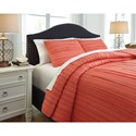 Signature Design by Ashley Bedding Sets Queen Solsta Coral Coverlet Set