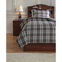Signature Design by Ashley Bedding Sets Twin Baret Gray Duvet Cover Set - Item Number: Q743011T