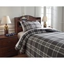 Signature Design by Ashley Bedding Sets Twin Baret Gray Duvet Cover Set