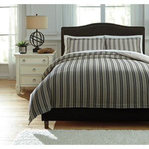 Signature Design by Ashley Bedding Sets Queen Navarre Black/Natural Duvet Cover Set