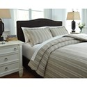 Signature Design by Ashley Bedding Sets Queen Navarre White/Natural Duvet Cover Set