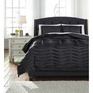 Signature Design by Ashley Bedding Sets King Voltos Charcoal Duvet Cover Set