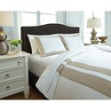 Signature Design by Ashley Bedding Sets Queen Andor White Sand Duvet Cover Set