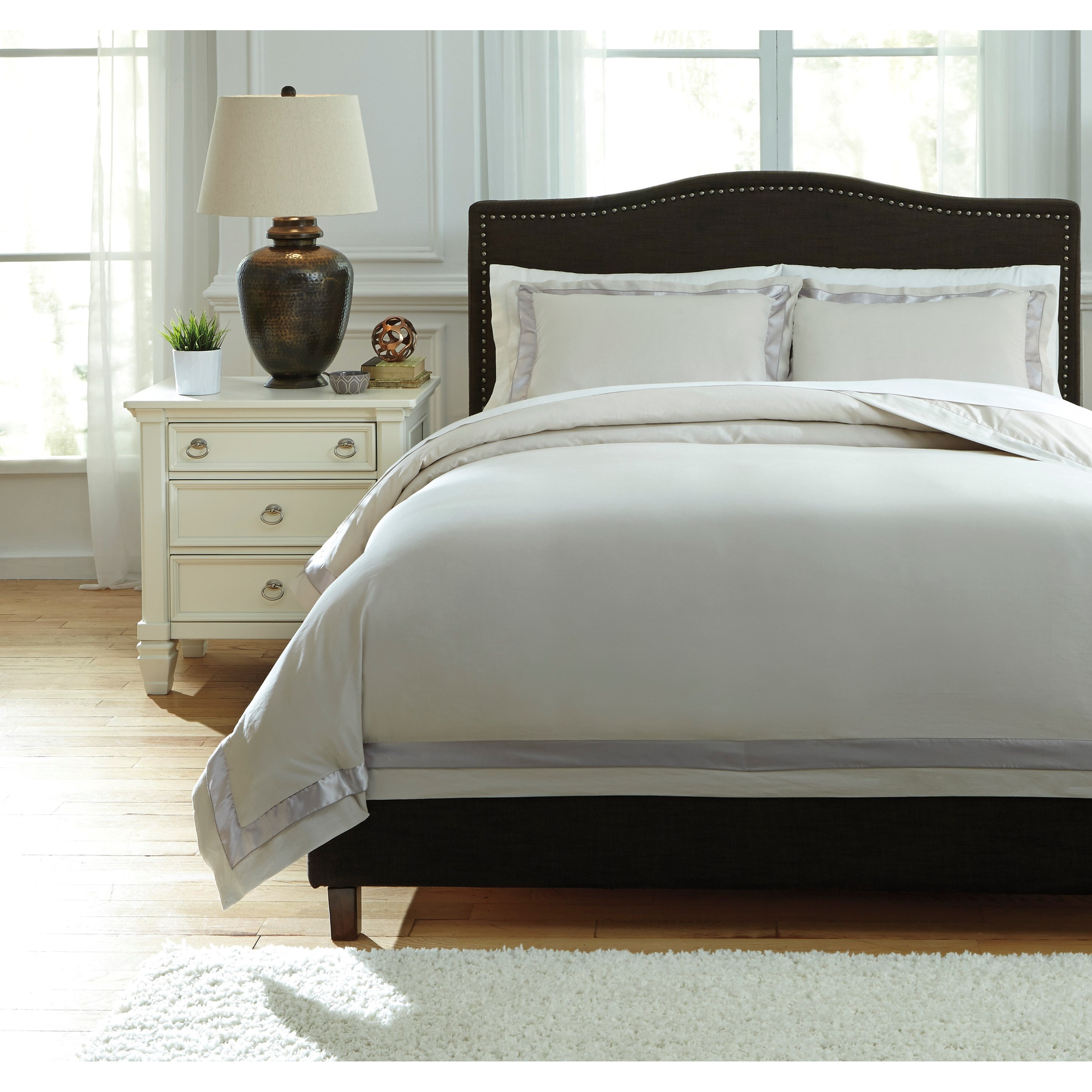 Signature Design by Ashley Bedding Sets King Faraday Natural Duvet Cover Set - Item Number: Q755013K