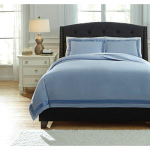 Signature Design by Ashley Bedding Sets Queen Faraday Soft Blue Duvet Cover Set