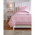 Signature Design by Ashley Bedding Sets Twin Loomis Pink Comforter Set - Item Number: Q758011T