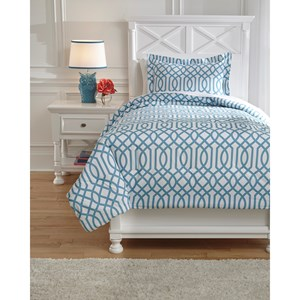 Signature Design by Ashley Bedding Sets Twin Loomis Aqua Comforter Set