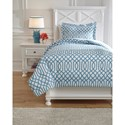 Signature Design Bedding Sets Twin Loomis Aqua Comforter Set - Item Number: Q758031T
