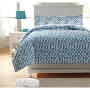 Signature Design by Ashley Bedding Sets Full Loomis Aqua Comforter Set