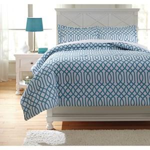 Signature Design by Ashley Bedding Sets Full Loomis Aqua Comforter Set