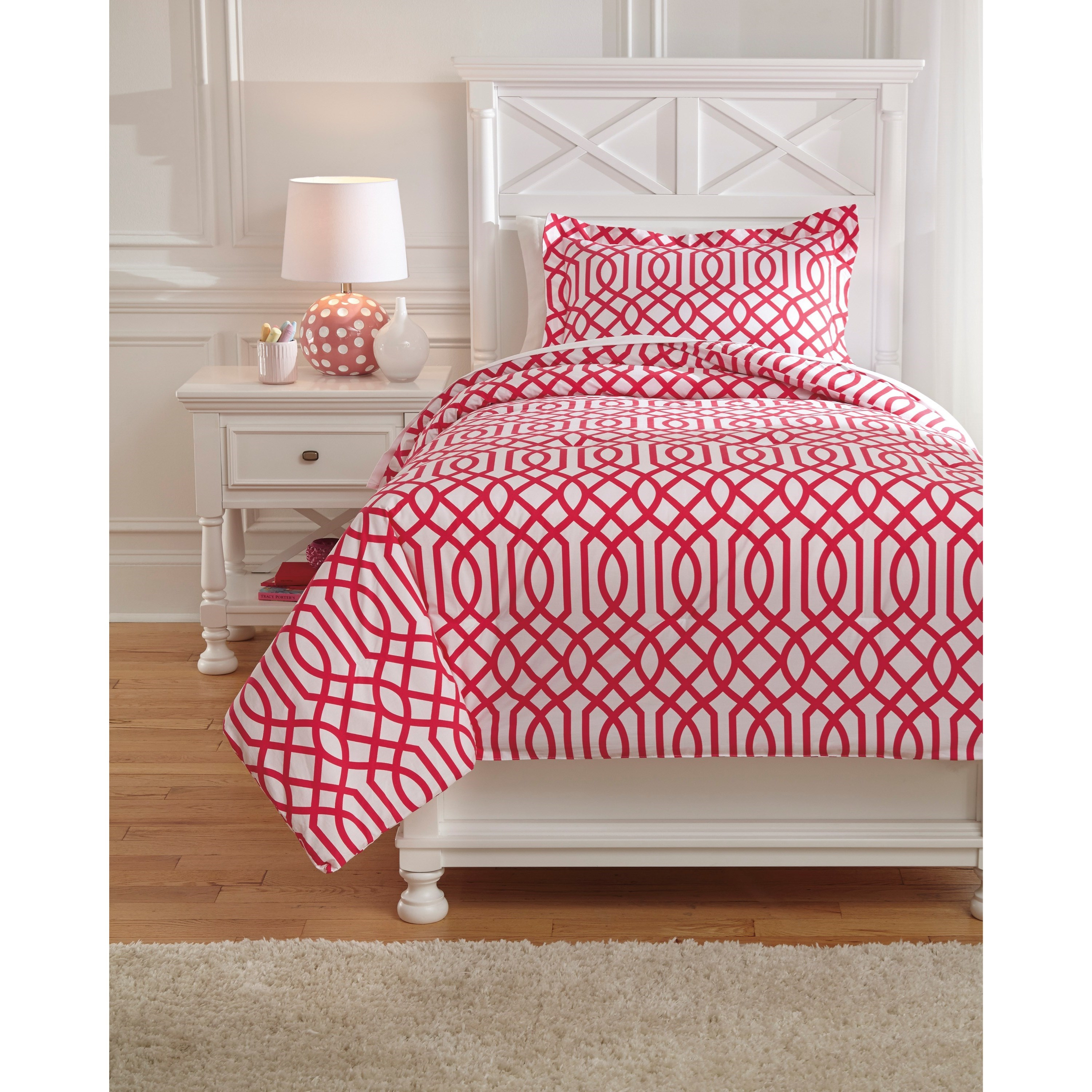 Bedding Sets Twin Loomis Fuschsia Comforter Set by Benchcraft at Virginia Furniture Market