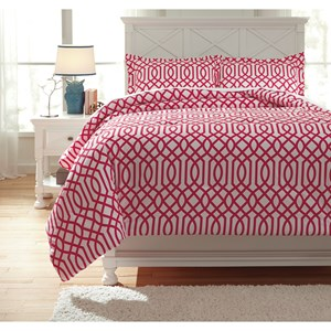 Signature Design by Ashley Bedding Sets Full Loomis Fuschsia Comforter Set