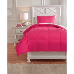 Signature Design by Ashley Bedding Sets Twin Plainfield Magenta Comforter Set