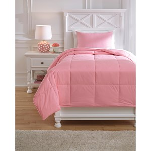 Signature Design by Ashley Bedding Sets Twin Plainfield Pink Comforter Set