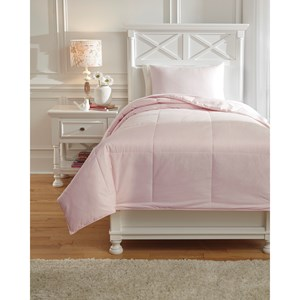 Signature Design by Ashley Bedding Sets Twin Plainfield Soft Pink Comforter Set