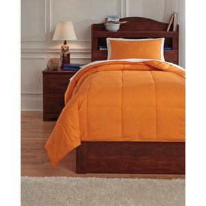 Signature Design by Ashley Bedding Sets Twin Plainfield Orange Comforter Set
