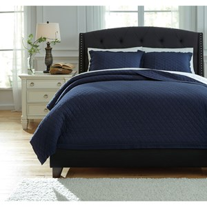 Signature Design by Ashley Bedding Sets King Alecio Navy Quilt Set