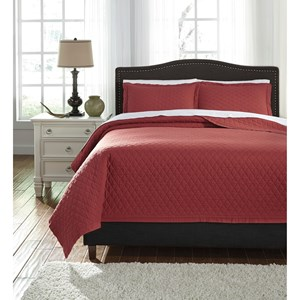 Signature Design by Ashley Bedding Sets Queen Alecio Red Quilt Set