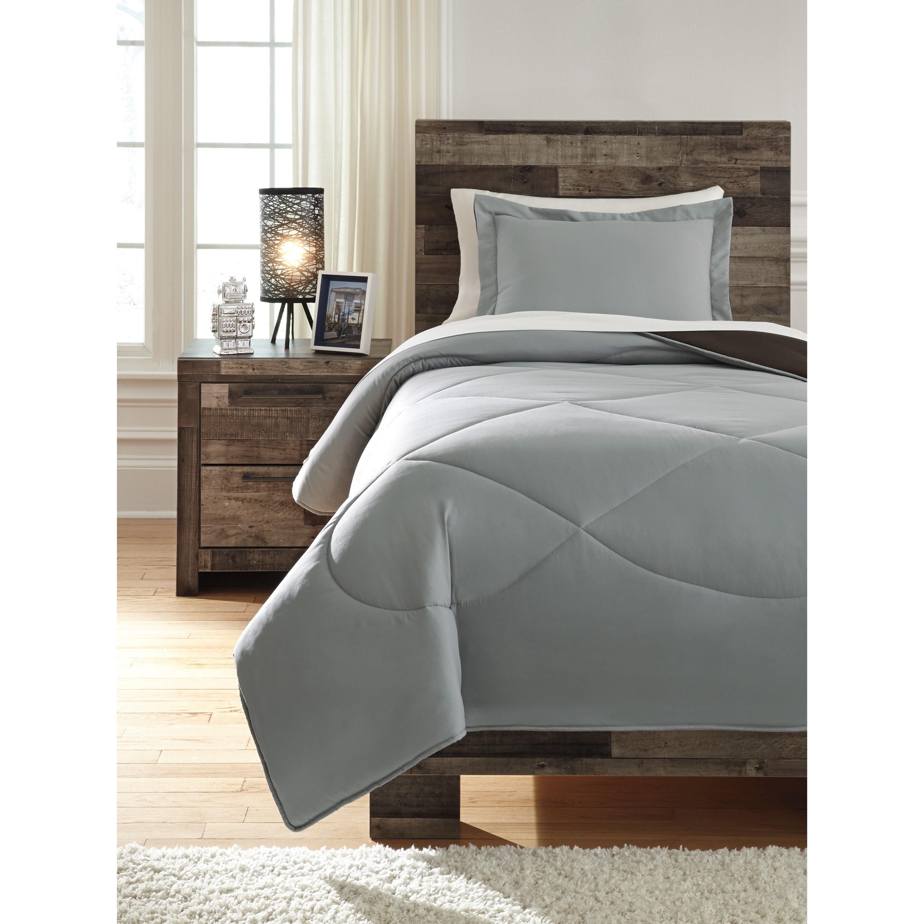 Twin Massey Gray/Black Comforter Set