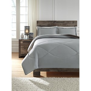 Full Massey Gray/Black Comforter Set