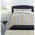 Signature Design by Ashley Bedding Sets Queen Mato Gray/Yellow/White Comforter Set - Item Number: Q763003Q