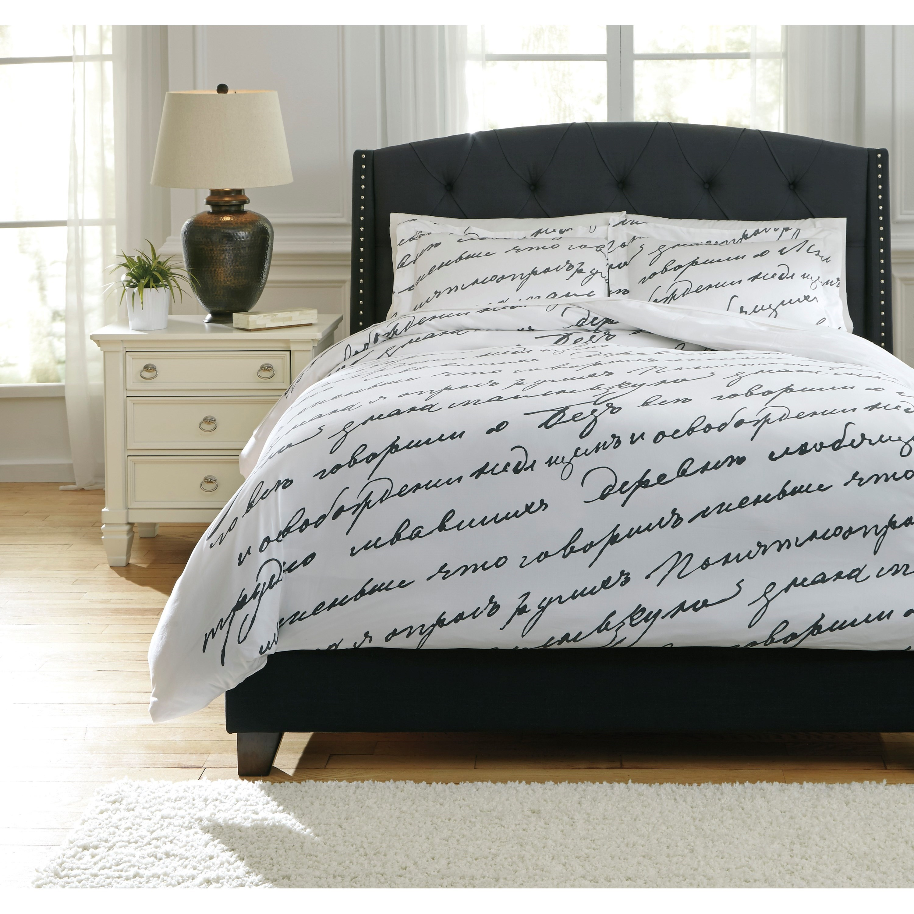 Signature Design by Ashley Bedding Sets Queen Amantipoint White/Gray Duvet Cover Set - Item Number: Q765003Q