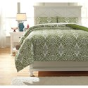 Ashley (Signature Design) Bedding Sets Full Ina Green Comforter Set - Item Number: Q766003F