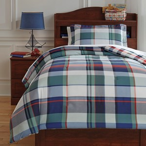 Signature Design by Ashley Bedding Sets Twin Mannan Plaid Comforter Set