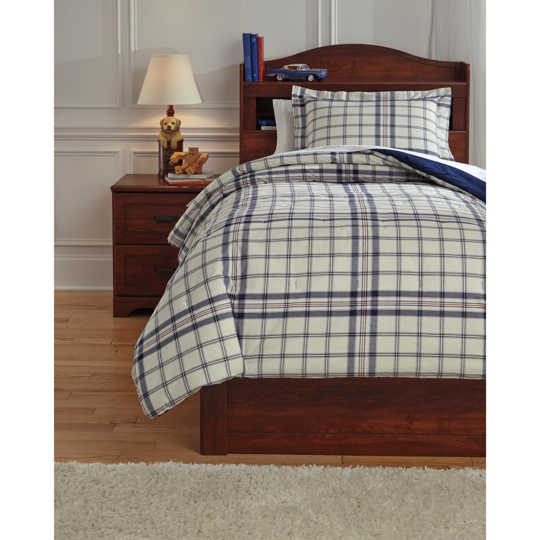 Signature Design by Ashley Bedding Sets Twin Derick Plaid Comforter Set - Item Number: Q774001T