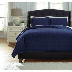 Queen Amare Navy Coverlet Set