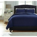 Signature Design by Ashley Bedding Sets Queen Amare Navy Coverlet Set - Item Number: Q776023Q