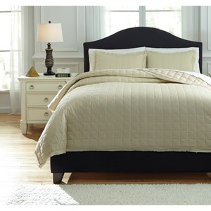 Signature Design by Ashley Bedding Sets Queen Amare Sand Coverlet Set