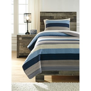 Signature Design by Ashley Bedding Sets Twin Winifred Blue/Gray/Tan Comforter Set