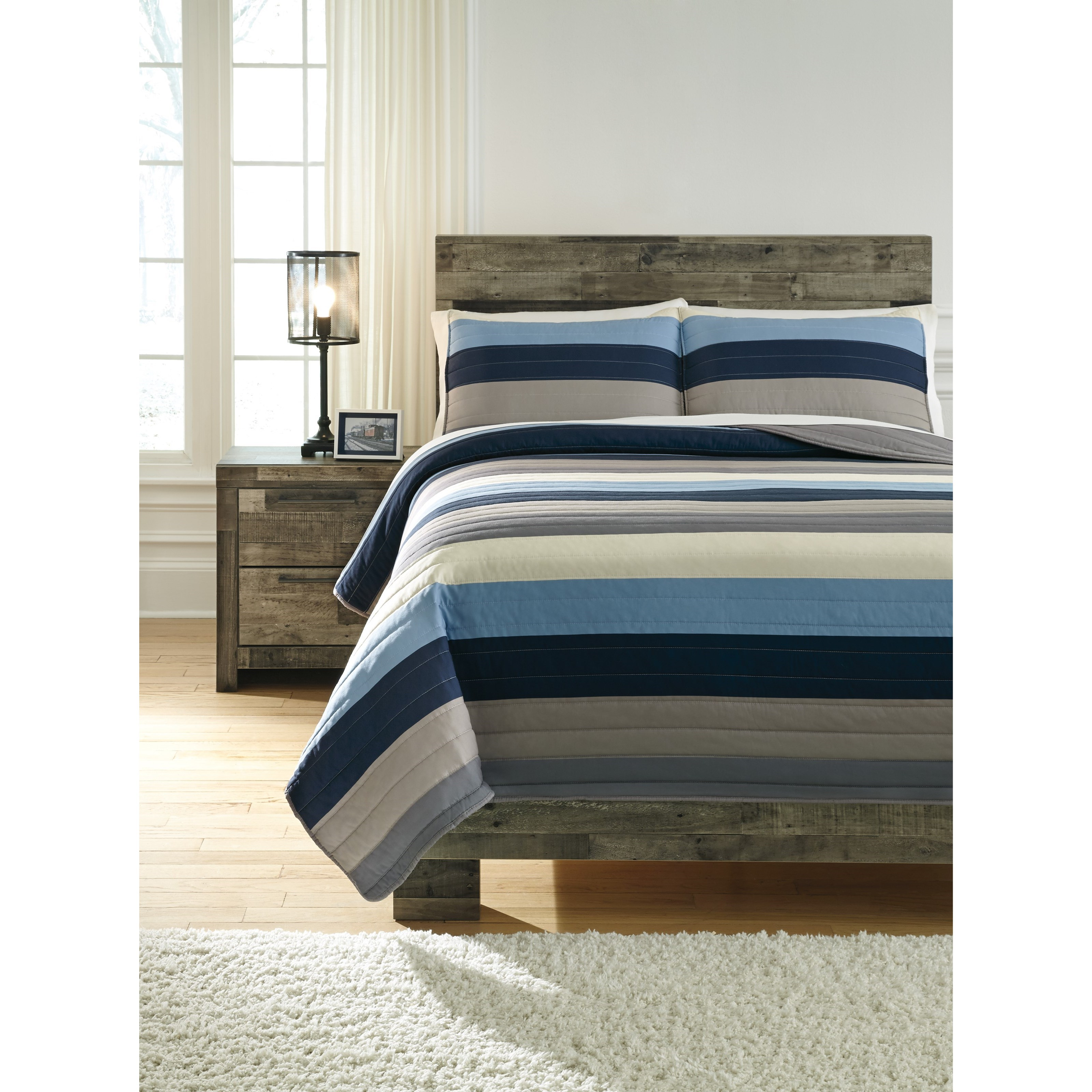 Full Winifred Blue/Gray/Tan Bedding Set