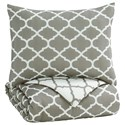 Signature Design by Ashley Bedding Sets Twin Media Gray/White Comforter Set