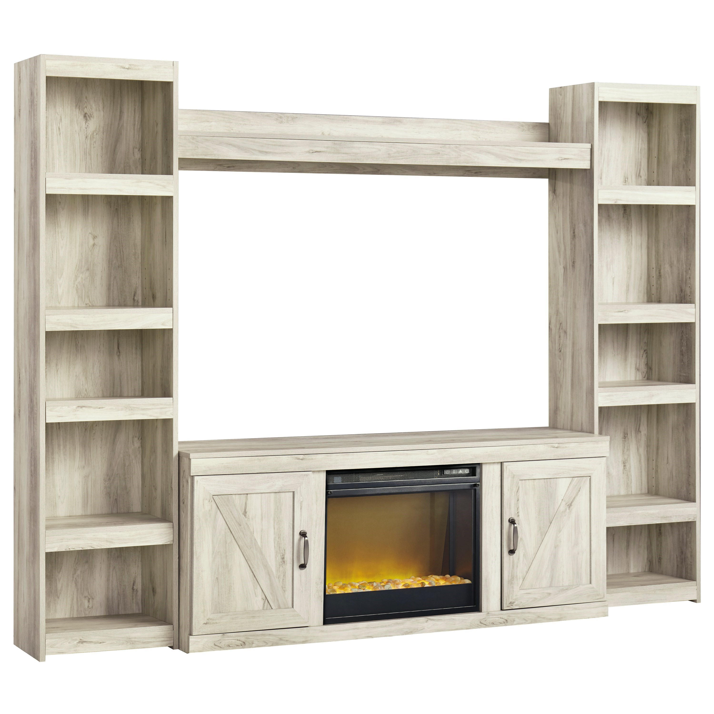 Bellaby TV Stand w/ Fireplace, Piers, & Bridge by Signature Design by Ashley at Household Furniture
