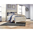 Signature Design by Ashley Bellaby White Finish Farmhouse Style Queen Panel Bed with Cross-Buck Design